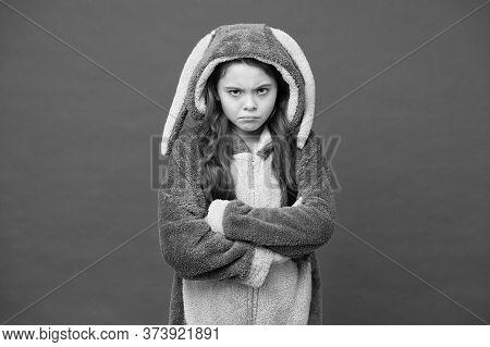 Sad Kid In Kigurumi Pajama. Pajama For Your Cozy Sleep. Funny Rabbit Child Relax. Baby Animal. Good