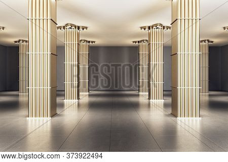 Exhibition Interior With Golden Pipe Columns And Blank Gray Wall. Gallery And Presentation Concept.