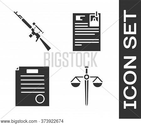 Set Scales Of Justice, Sniper Rifle With Scope, The Arrest Warrant And Lawsuit Paper Icon. Vector
