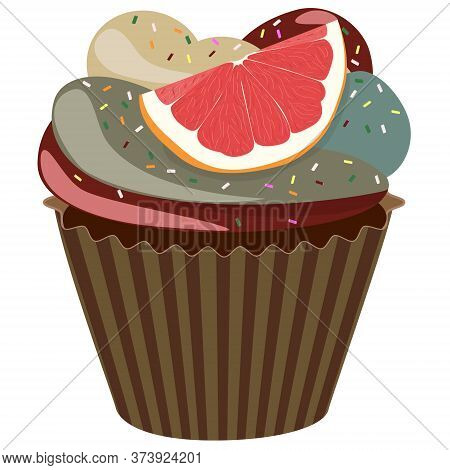 Realistic Cupcake. Sweet Creamy Desserts Muffins With Grapefruit, Delicious Confectionery And Baking