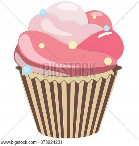 Realistic Cupcake. Sweet Creamy Desserts Muffins With Pink Cream, Delicious Confectionery And Baking