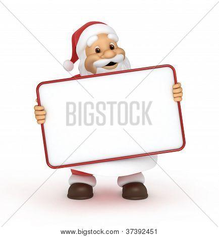 Santa claus with a blank billboard
