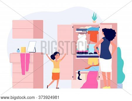 Mess In Kids Room. Happy Girl Serious Mom. Wardrobe With Clothes, Woman And Daughter Measuring Outfi