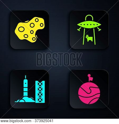 Set Moon With Flag, Asteroid, Rocket Launch From The Spaceport And Ufo Abducts Cow. Black Square But
