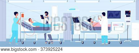 Intensive Therapy Clinic. Patients Hospital Care In Ward Interior. Woman Mechanical Ventilation Appa
