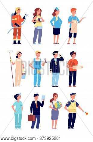 Kids In Professional Uniform. Child Professions And Jobs, Boy Girl Occupation. Isolated Cartoon Chil