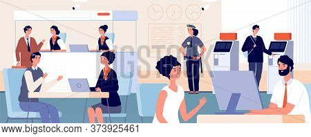 Clients In Bank Office. Modern Finance Service Department, Face Id Identification. Customers And Ban