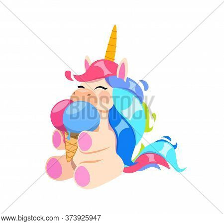 Happy Unicorn With Ice Cream. Little Magic Horse Eating Tasty Dessert. Cafe Bar Bakery Or Coffee Sho