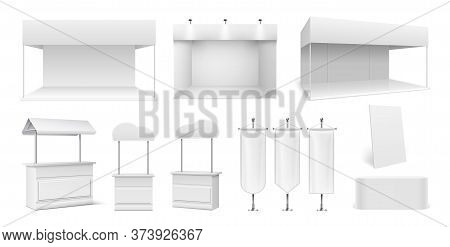 Realistic Promo Stands. Empty Tents, White Panels And Display. Showroom Or Street Market Stalls. 3d