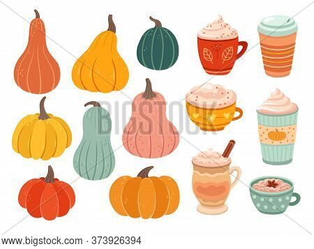 Pumpkin Season. Creative Simple Pumpkins, Ripe Variety Nature Objects. Latte Tasty Coffee, Hot Drink