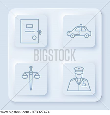 Set Line Lawsuit Paper, Police Car And Flasher, Scales Of Justice And Police Officer. White Square B