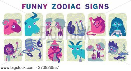 Funny Zodiac Signs. Set. Colorful Vector Illustration Of All Zodiac Signs In Hand-drawn Sketch Style