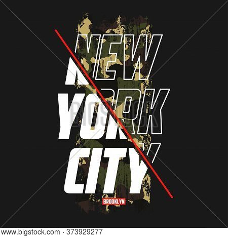 New York Slogan T-shirt With Camouflage Texture. Brooklyn Camo Tee Shirt With Camo Typography Print