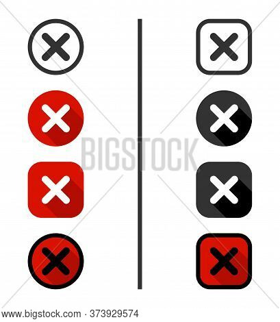 Cross Icons, Isolated. Mark Icons. Cross Vector Icons Red And Black Color. X In Flat Design. Cross O