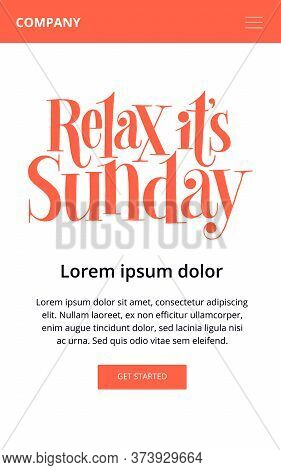 Relax It Is Sunday. Hand-drawn Lettering Quote For Resort, Massage Salon, Spa. Wisdom For Merchandis