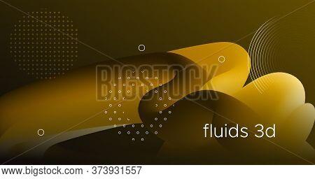 Fluid Poster Cover. Gold Digital Flyer. Color Futuristic Wallpaper. Neon Vibrant Movement. Wave Flui