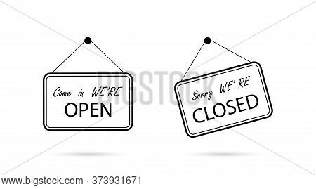 Open And Closed Sign Board, Isolated. Open With Closed Signboard In Line Design. Vector Illustration