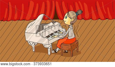Cartoon Adult Female Pianist Performing On Stage In Concert Hall. Chorus Piano Accompaniment. Woman