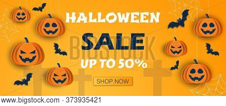Halloween classic blue background with pumpkins and bats in paper style, 3D vector.Halloween Sale Promotion banner. Happy Halloween banner or party invitation background