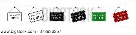 Open And Closed Sign Board, Isolated. Open With Closed Signboard In Different Design. Vector Illustr