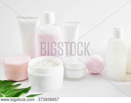 Flat Lay Composition Natural Cosmetics Ingredients For Skincare, Body And Hair Care.top View Bottles