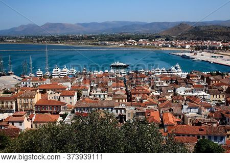 View Of Nafplio City In The Peloponnese In Greece That Has Expanded Up The Hillsides Near The North
