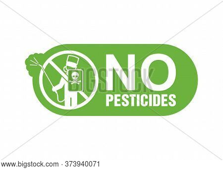 No Pesticides Sticker - Rounded Sign With Crossed Out Man With Sprayer And Personal Protective Equip