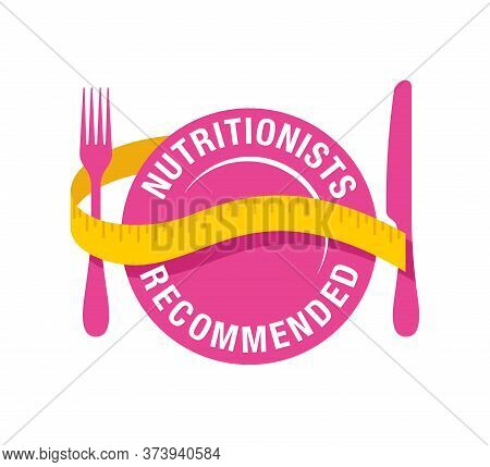 Nutritionists Recommended Icon - Circular Stamp In Plate Form With Measuring Tape Around - Hor Healt