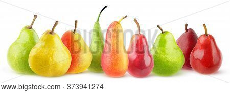 Isolated Pears Of Diverse Varieties. Panorama Of Multicolored Different Pears Isolated On White Back