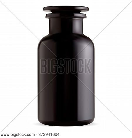 Old Apothecary Bottle. Black Glass Vintage Pharmacy Vial From Chemical Laboratory. Antique Potion Ja