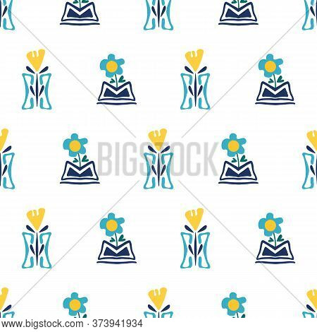 Modern Forget-me-not And Daffodil Flowers In Aztec Style Pots. Seamless Vector Pattern. Hand Drawn B