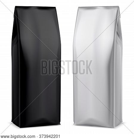 Coffee Foil Package. Black And White Bag Mockup. 3d Pouch Design Template. Realistic Powder Beverage