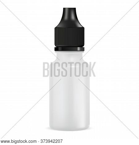 E Juice Bottle. Dropper Jar Mockup. Vector Illustration Of Vapor Liquid Container With Plastic Eyedr