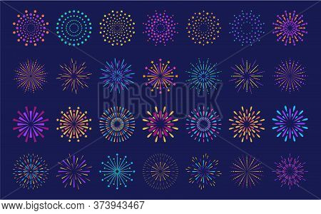 Abstract Burst Pattern Fireworks Set. Flat Colorful Star Shaped Firework Geometric Pattern Collectio