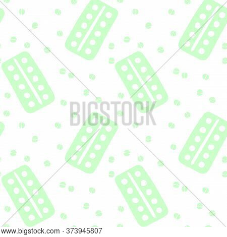 Seamless Pattern With Medicines, Medicaments, Drugs, Pills And Tablets. Medical Pharmacy Backgrounds