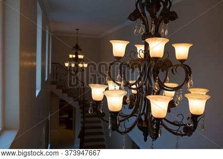 Illuminated classy chandelier at home