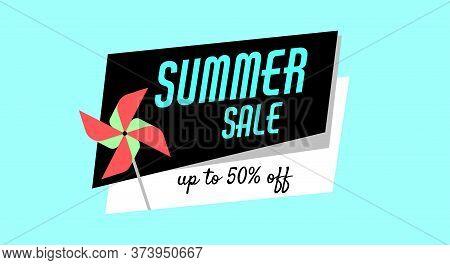 Summer Sale Of Children Games, Toys, Pinwheel For Web, Print. Shopping Advertising Banner, Poster