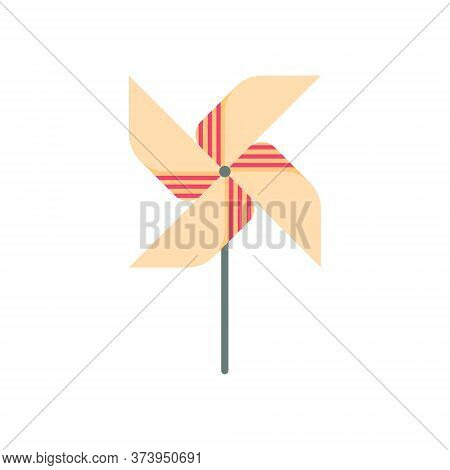 Icon Of Colorful Pinwheel, Wind Wheel, Active Games For Kids In Park. Vector Illustration