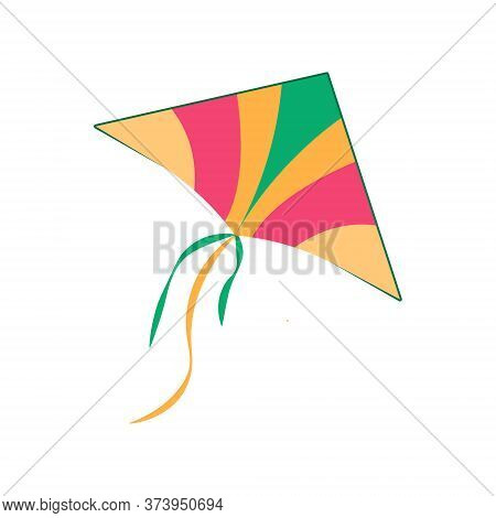 Icon Of Colorful Kite, Active Games For Kids In Park. Vector Illustration