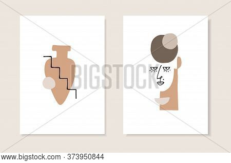 Vector Set Of Artistic Templates, Invitations. Illustrations Of Female Portrait And Vase Silhouette
