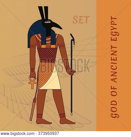 God Of Ancient Egypt Seth. Egyptian Ancient Symbol, Isolated Figure Of Ancient Egypt Deities.