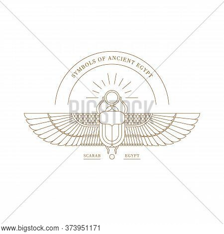 Logo, Symbol Of The Ancient Egyptians. Vector Illustration Of The Egyptian Scarab Beetle, Personifyi
