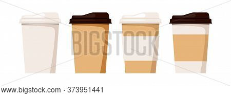 Coffee To Go Cup Set Isolated On White Background. Disposable Plastic And Paper Tableware For Takeou