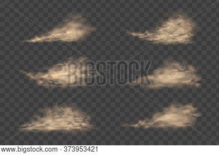 Dust Cloud, Sand Storm, Powder Spray On Transparent Background. Flying Sand. Dust Cloud.