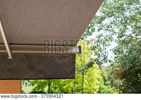 Sunprotecting Awning From Fabric Material, Residential House.