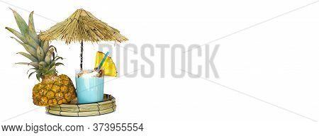 Pineapple Shake Blue Pina Colada Drink Cocktail Milkshake At Mini Beach Bar With Sun Umbrella, Tahit