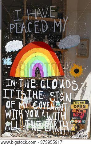 Babylon, New York, Usa - 28 June 2020: Babylon Village New York Store Window Decorated With Rainbows