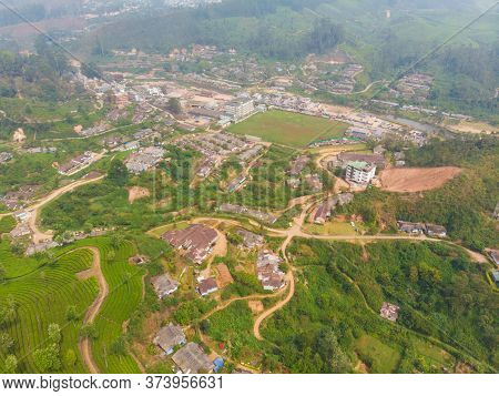 Aerial View Of The Neighborhood Of The City Of Munnar.