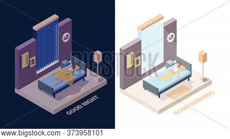 Wake Up Girl. Joyful Happy Woman In Bed Sleep In Night And Stretching Hands In Morning Vector Wake U