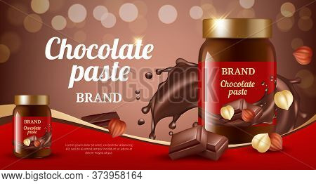 Chocolate Cream Ads. Delicious Sweet Brown Paste Flowing Eat Product Vector Realistic Promotional Pl